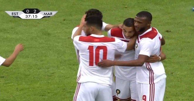 فيديو .. حكيم زياش يسجل الهدف الثاني للمنتخب المغربي