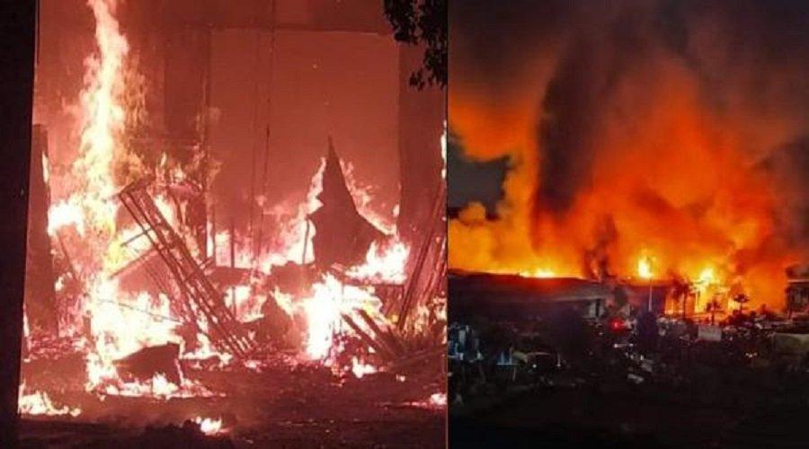 اندلاع حريق مهول بسوق الصالحين بسلا