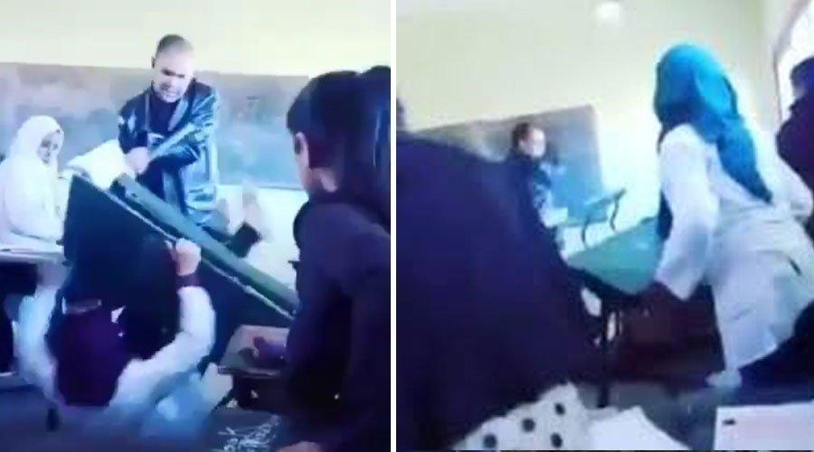 واقعة قلب أستاذ لطاولة على تلميذتين.. وزارة التعليم تدخل على الخط (فيديو)