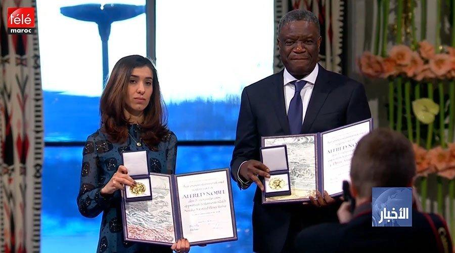 تسليم الطبيب الكونغولي دينيس موكويجي والعراقية نادية مراد جائزة نوبل للسلام