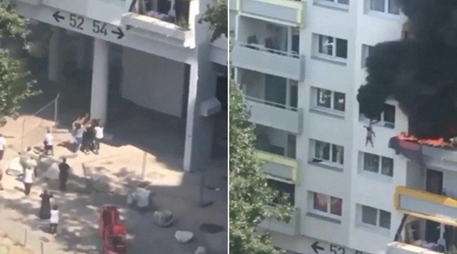 بالفيديو.. لحظة قفز طفلين من شرفة شقتهما المحترقة بالطابق الثالث والتقاطهما من طرف الأهالي