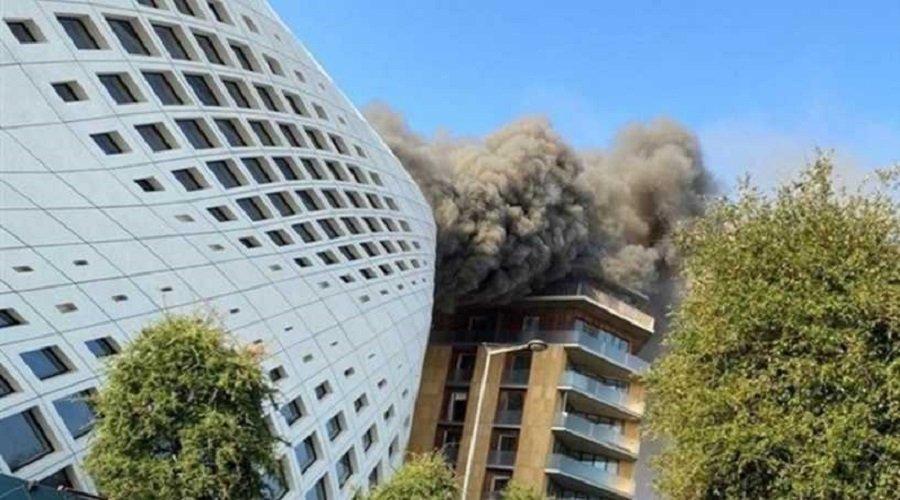 بالفيديو.. اندلاع حريق ضخم بالحي التجاري في بيروت