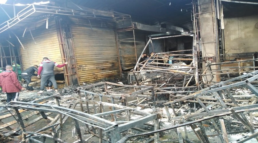 حريق يلتهم 50 محلا تجاريا بإنزكان