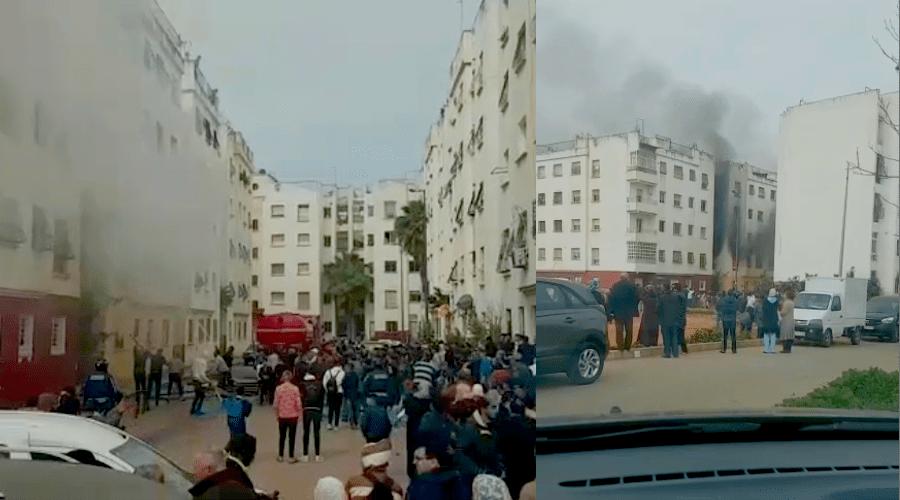 بالفيديو.. اندلاع حريق داخل شقة سكنية بسلا