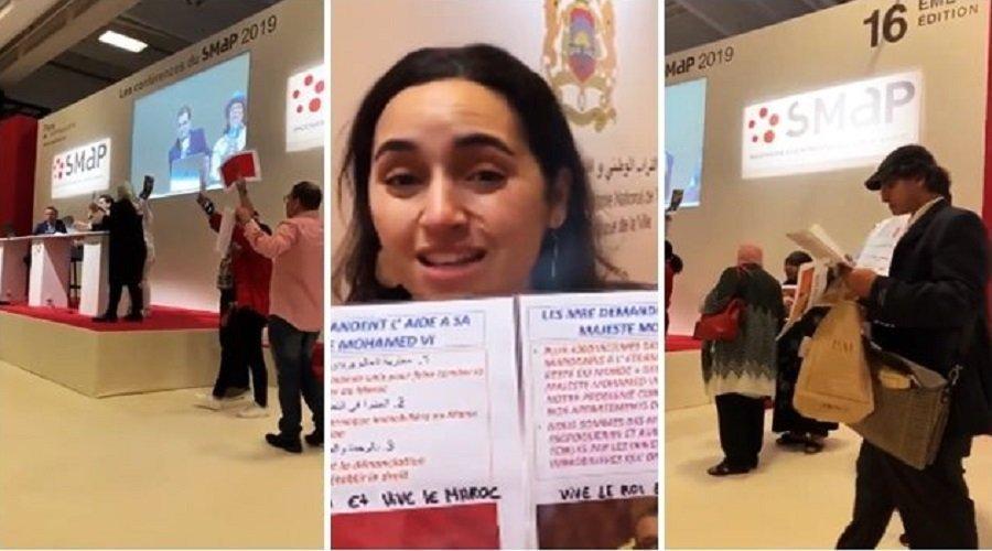 """بالفيديو.. أفراد من الجالية بباريس ينتفضون في """"سماب إكسبو"""" ضد مافيا العقار"""