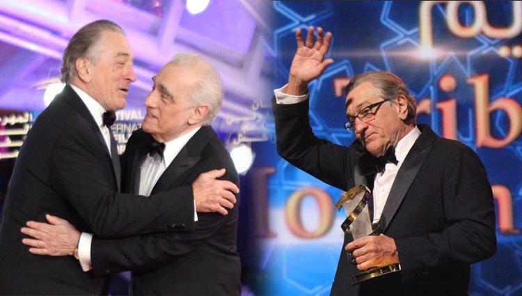 روبرت دي نيرو يحبس دموعه أثناء تكريمه بالمهرجان الدولي للفيلم