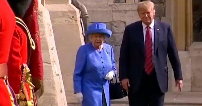 """حتّى أمام ملكة بريطانيا.. ترامب يواصل خرق """"البروتوكول""""(فيديو)"""