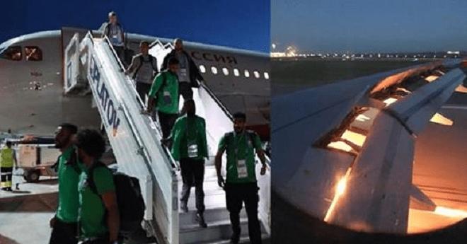 بسبب عطل في الطائرة.. المنتخب السعودي ينجو بأعجوبة من حادث جوي في روسيا