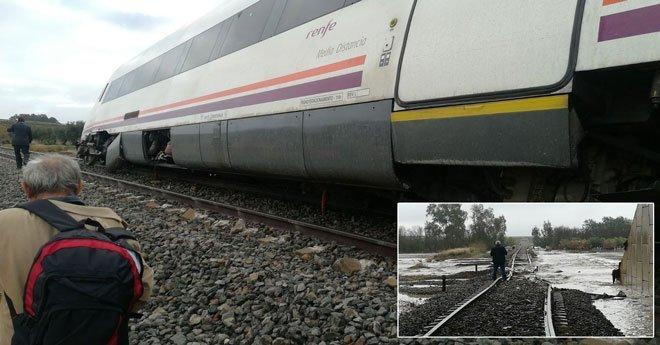 بسبب سوء الأحوال الجوية .. قطار ينحرف عن مساره و يتسبب في إصابة 21 شخصا باسبانيا