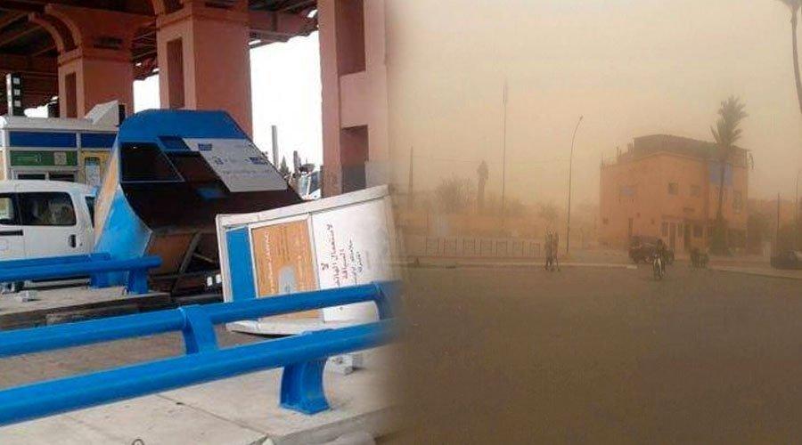 عواصف رملية قوية تغطي سماء مراكش