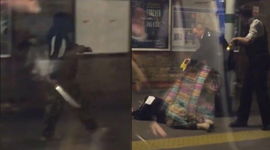 شخص يتجول حاملا سيفا في محطة الميترو والشرطة تصعقه بالكهرباء