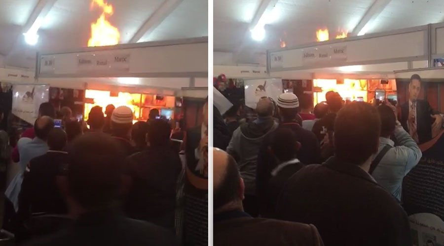 بالفيديو.. اندلاع حريق داخل معرض الكتاب بالبيضاء