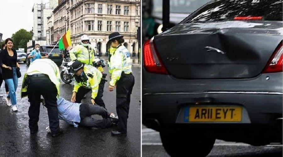 بالفيديو.. سيارة أمن تصدم سيارة رئيس وزراء بريطانيا