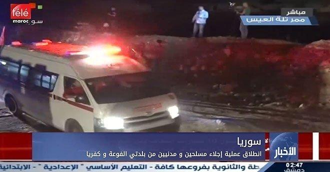 فيديو..سوريا:  انطلاق عملية إجلاء مسلحين ومدنيين من بلدتي الفوعة وكفريا