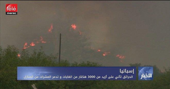 إسبانيا .. الحرائق تأتي على أزيد من 3000 هكتار من الغابات وتدمر العشرات من المنازل