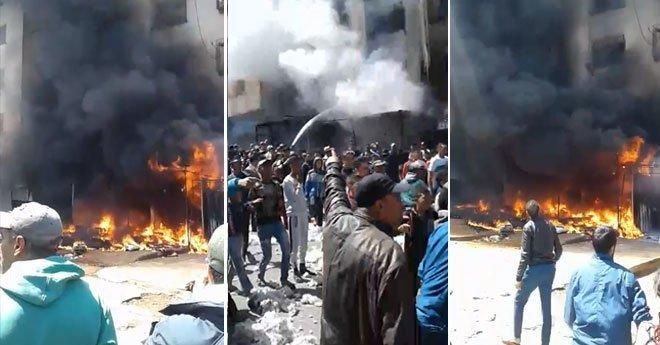 فيديو .. إندلاع حريق بحي التشارك بمدينة الدار البيضاء