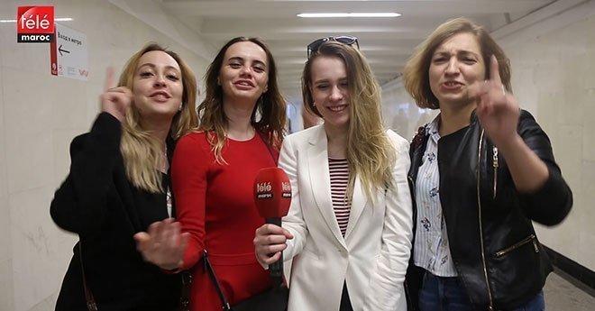 روسيات يرحبن بالمغاربة في روسيا