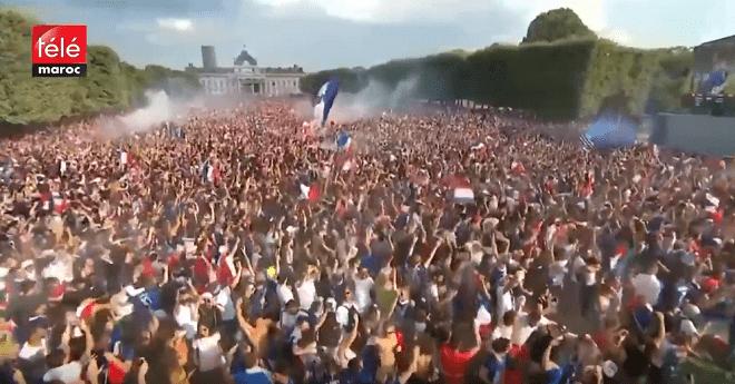 فيديو.. شاهد فرحة الجماهير الفرنسية بعد إحراز كأس العالم