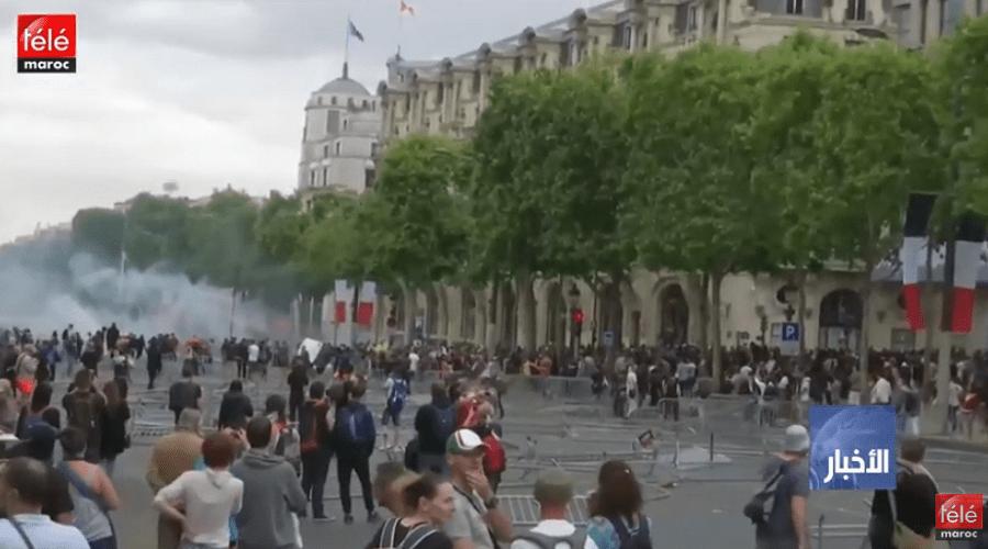 """فرنسا: اشتباكات بين الشرطة ومحتجي """"السترات الصفراء"""" في باريس"""