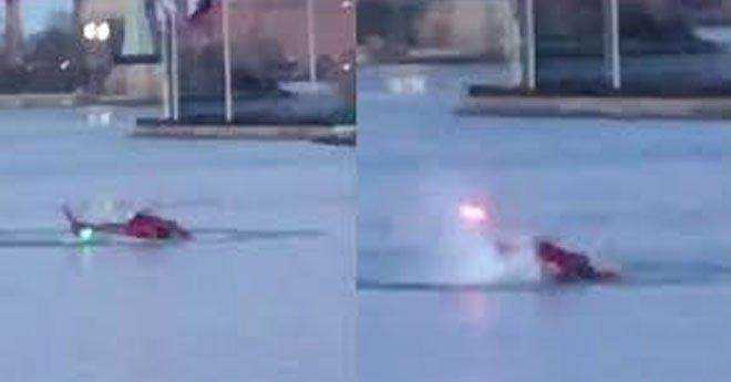 بالفيديو .. لحظة تحطم مروحية في نهر بنيويورك ومقتل شخصين