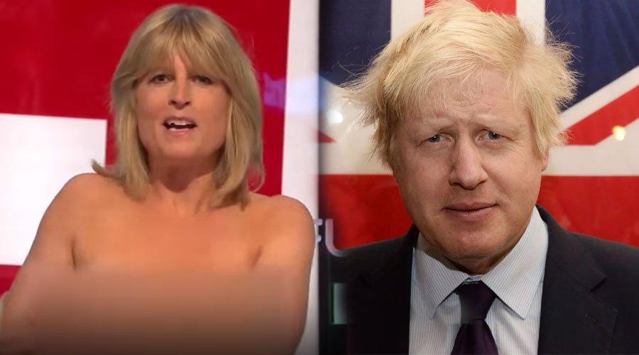 """بالفيديو.. شقيقة وزير خارجية بريطانيا السابق تتعرى على الهواء احتجاجا على """"بريكست"""""""