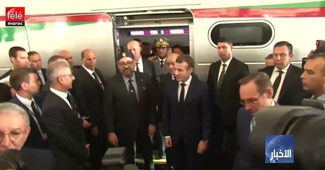 """الملك والرئيس الفرنسي يدشنان القطار فائق السرعة """"البراق"""" الرابط بين طنجة والدار البيضاء"""