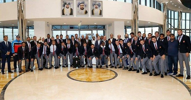 صور وصول بعثة الوداد إلى الإمارات