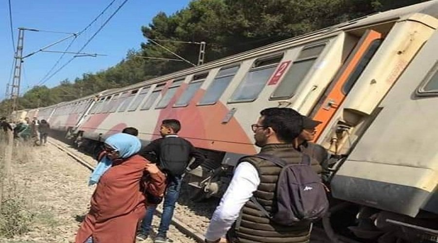 قطار ينحرف عن سكته قرب بوسكورة